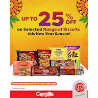 Get up to 25% Off on selected Biscuits products at Cargills FoodCity this New Year season!