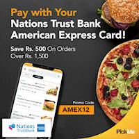 Save Rs. 500 on orders over Rs. 1,500 when you pay with your Nations Trust Bank American Express Card from PickMe Food