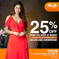 Enjoy a 25% discount for purchases done Online & at ZIGZAG Flagship Store via FriMi