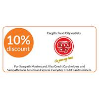 10% Discount at Cargills food city for Sampath Master Card, Visa Credit Cardholders and Sampath Bank American Express Everyday Credit Cardmembers
