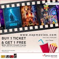 Buy 1 ticket and get 1 free along with free salted popcorn and a soft drink when you purchase your ticket on www.eapmovies.com with your DFCC credit card.