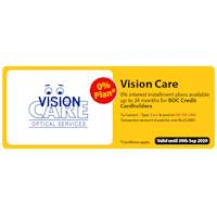 0 % interest Installment plans available up to 24 months for BOC credit cardholders at Vision Care