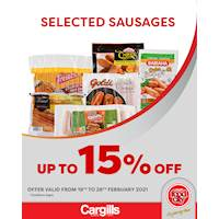 Get up to 15% Off on selected Sausages at Cargills FoodCity!