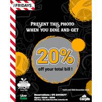 Show This Coupon and Get 20% off your total bill at TGI Fridays