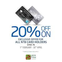 20% Off On Exclusive offer for all NTB Card Holders at Jack TREE
