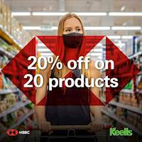 Enjoy 20% off on 20 products at any Keells outlet islandwide, when you shop for Rs.5000 and above using your HSBC Credit Card