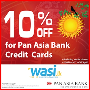 10% Off for Pan Asia Bank Cardholders at Wasi.lk
