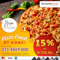 15% OFF on total bill at Harpo's Pizza for delivery & takeaway orders above Rs. 2,000/- for all Sampath Cards