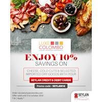 Get 10% OFF on selected items at Luxe Colombo with Seylan Credit and Debit Cards.