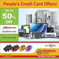 Up to 50% discounts only from People's Credit Cards at www.buyabans.com
