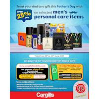 Get up to 25% off on selected men's personal care items from Cargills Food City for this Father's Day