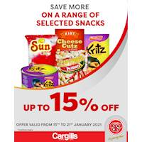 Get up to 15% on selected Snacks at Cargills FoodCity!
