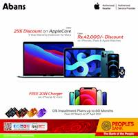 Special offers on Apple products and 0% installment plans for up to 60 months when you make your purchase with People's Bank credit cards at Abans
