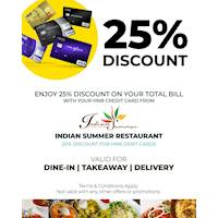 Enjoy 25% discount on total Bill for HNB Credit Cards and 20% for HNB Debit Cards at Indian Summer