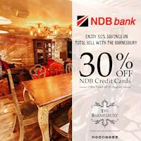 Enjoy 30% savings on total bill with the Barnesbury for NDB Credit Cards
