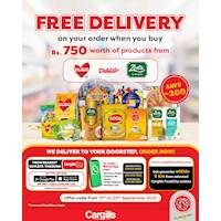 Get your order delivered for FREE when you buy Rs.750 worth of goods from Watawala, Zesta and Daintee from Cargills FoodCity
