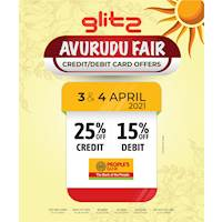 25% off on People's bank credit cards and 15% off on debit cards at Glitz