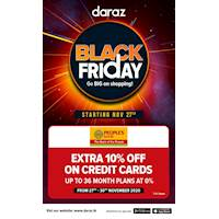 Black Friday Sale - Enjoy Extra 10% off and 0% Interest payment plans exclusively for People's Bank credit card holders at Daraz