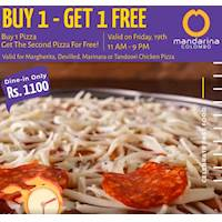Buy 1 Pizza for Rs. 1100 net and get the second 1 for FREE!