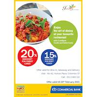 Enjoy up to 20% off for Combank Credit and Debit cards at Indian Summer