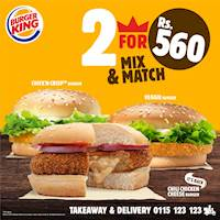 Grab a bite off our 2 for 560/- offer at Burger King