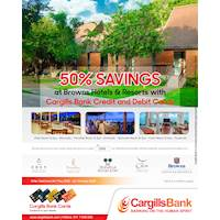 50% savings at Browns Hotels & Resorts with Cargills Bank Credit and Debit Cards