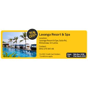 15% Off at Lavanga Resort and Spa for BOC Cardholders