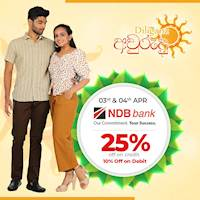25% Savings for NDB Credit & 10% Savings for Debit Cards when you shop at Diliganz