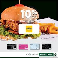 Enjoy 10% off at The FoodCycle with your Amana Bank Debit Card.