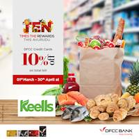 Get 10% off on total bill when you shop at any Keells Outlet this Avurudu season with your DFCC credit Card.
