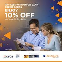 Enjoy 10% off on Utility Bills when you pay with your Union Bank Credit Card!