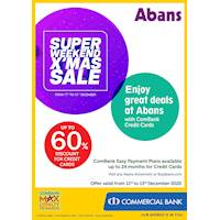 Super Weekend Christmas Sale - Up to 60% Off at Abans with ComBank Credit Cards