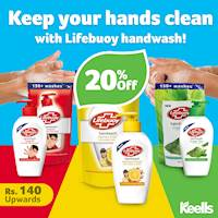 20% off deal on selected Lifebuoy handwash products when you shop at Keells