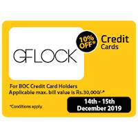 10% OFF applicable max. Value is Rs30,000/- for BOC Credit Card Holders at GFLCOK