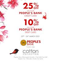 Enjoy 25% Off on your Peoples Bank Credit Card and 10% Off on Debit Card at Cotton Collection