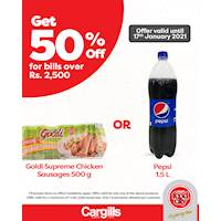 Get 50% off on one selected product at Cargills FoodCity!