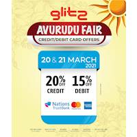 20% off on NTB credit cards and 15% off on NTB debit cards at glitz
