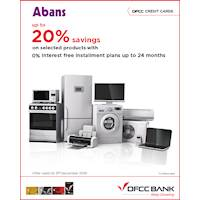 Up to 20% savings on selected products 0% Interest-free installment plan for up to 24 months at Abans with DFCC Cards