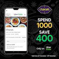 Get Rs. 400 Discount on orders above Rs. 1000 at Chana's only on Uber Eats