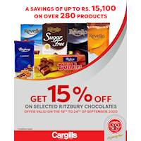 Get 15% off on selected Ritzbury Chocolates at Cargills FoodCity!