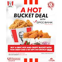 Buy 8 PC Hot and Crispy Chicken Bucket & Get a 20 PC Hot Drumlets free at KFC for DFCC Bank Credit Card