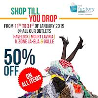 Receive a Flat 50 % off on all items at The Factory Outlet