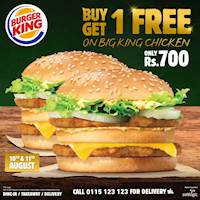 Buy 1 Get 1 free on Big King Chicken at Burger King