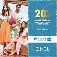Get 20% OFF on your bill when you use your Nations Trust Bank American Express Credit Card at ODEL!