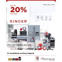 Enjoy up to 20% savings on selected products at Singer with DFCC Credit Cards!