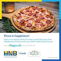 Get 20% OFF dine-in and take-away at Margherita's Pizzeria and coffee bar with your HNB Card.