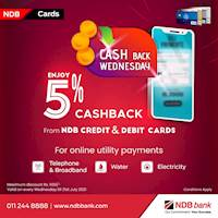 Its Cashback Wednesday! Enjoy 5% cashback for utility payments done online with your NDB Credit /Debit cards