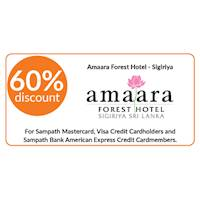 60% discount on double and triple room bookings on full board, half board stays at Amaara Forest Hotel, Sigiriya for Sampath Bank Cards