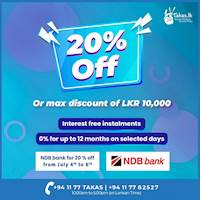 Get 20% off on your NDB credit cards at www.takas.lk