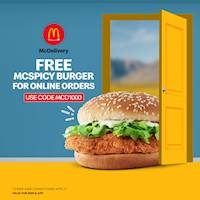 Get a Free McSpicy Burger when you order via www.mcdelivery.lk or the McDelivery app